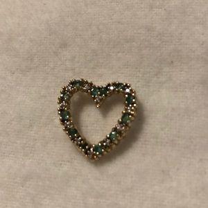 Jewelry - Silver emerald and diamond pendant